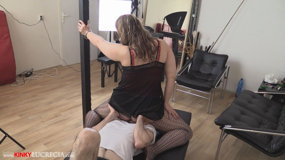 image Dominatrix makes him beg to sniff her dirty panties