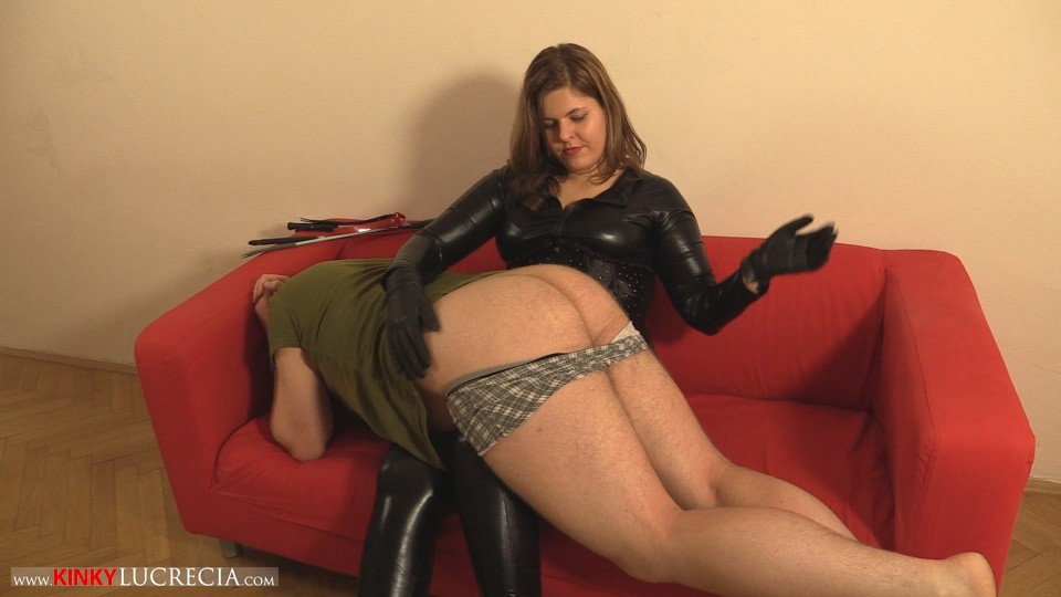 Madam Lucrecia Spanking on the sofa